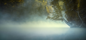 Rolling mist over Hunt Lake