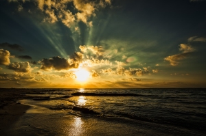 Sunrise off the Caribbean shore